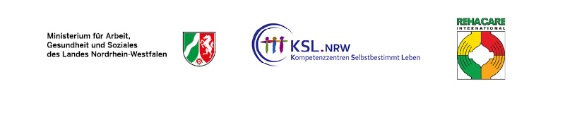 Logos der Veranstalter der Fachtagung: Das Ministerium für Arbeit, Gesundheit und Soziales (MAGS), die Kompetenzzentren Selbstbestrimmt Leben in NRW (KSL.NRW) und die Rehacare